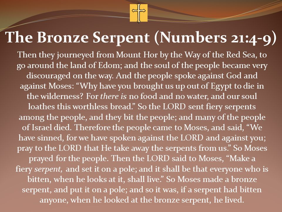 The Bronze Serpent (Numbers 21:4-9) Then they journeyed from Mount Hor by the Way of the Red Sea, to go around the land of Edom; and the soul of the people became very discouraged on the way.