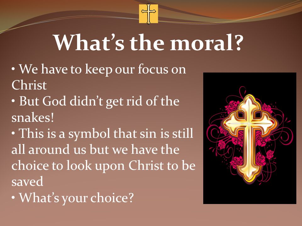 What's the moral. We have to keep our focus on Christ But God didn't get rid of the snakes.
