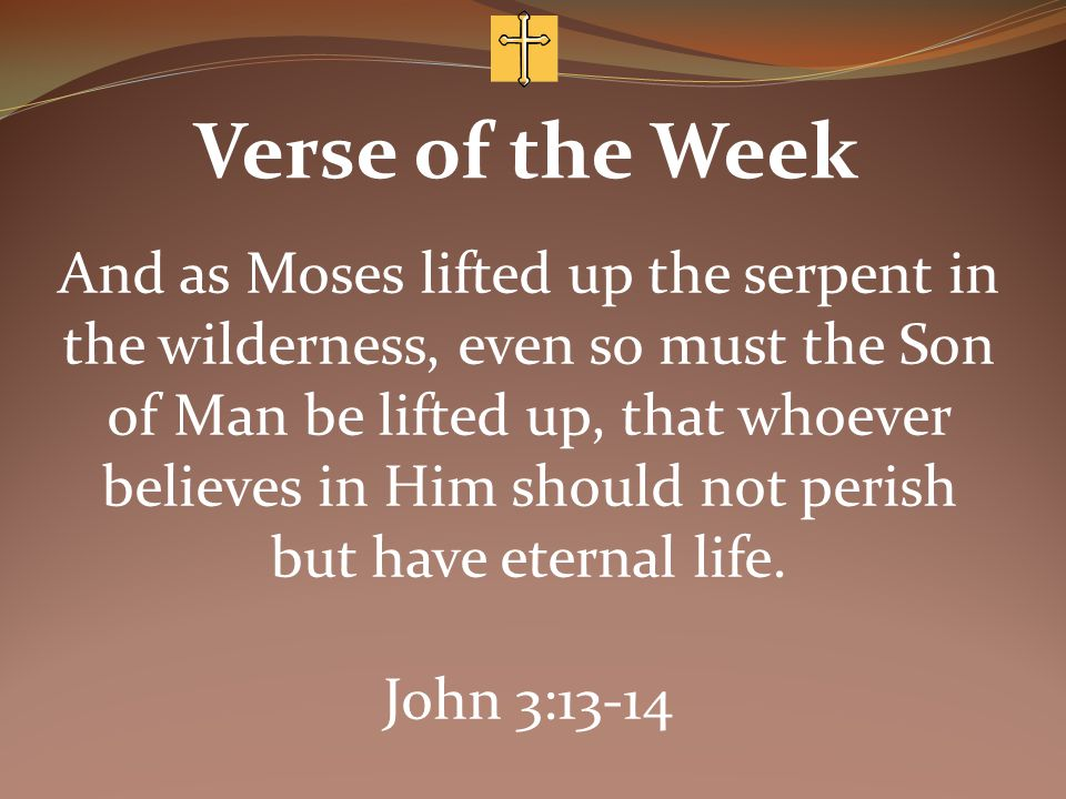 Verse of the Week And as Moses lifted up the serpent in the wilderness, even so must the Son of Man be lifted up, that whoever believes in Him should not perish but have eternal life.
