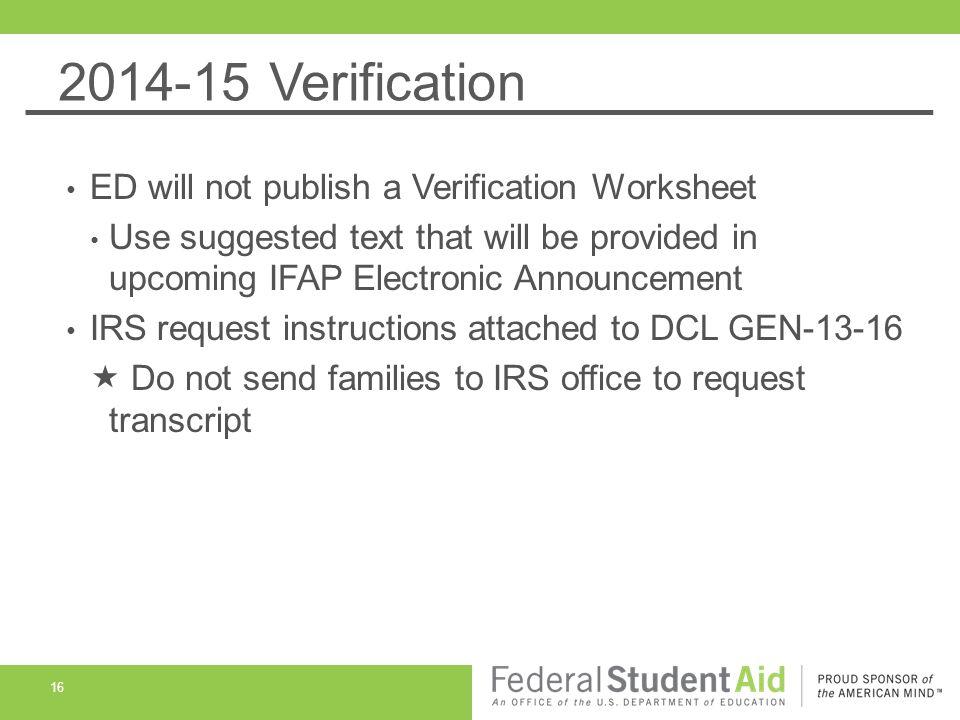 FAFSA Verification MAFAA Professional Development Day St Paul – Federal Verification Worksheet