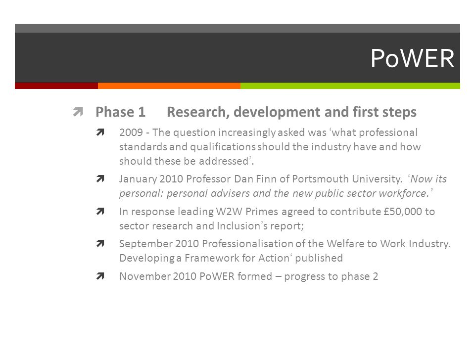 PoWER  Phase 1 Research, development and first steps  The question increasingly asked was 'what professional standards and qualifications should the industry have and how should these be addressed'.