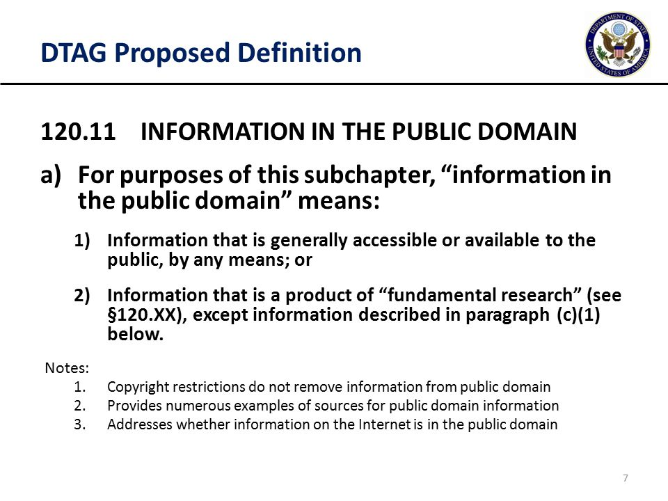 Dtag Proposed Definition Information In The Public Domain Afor Purposes Of This Subchapter