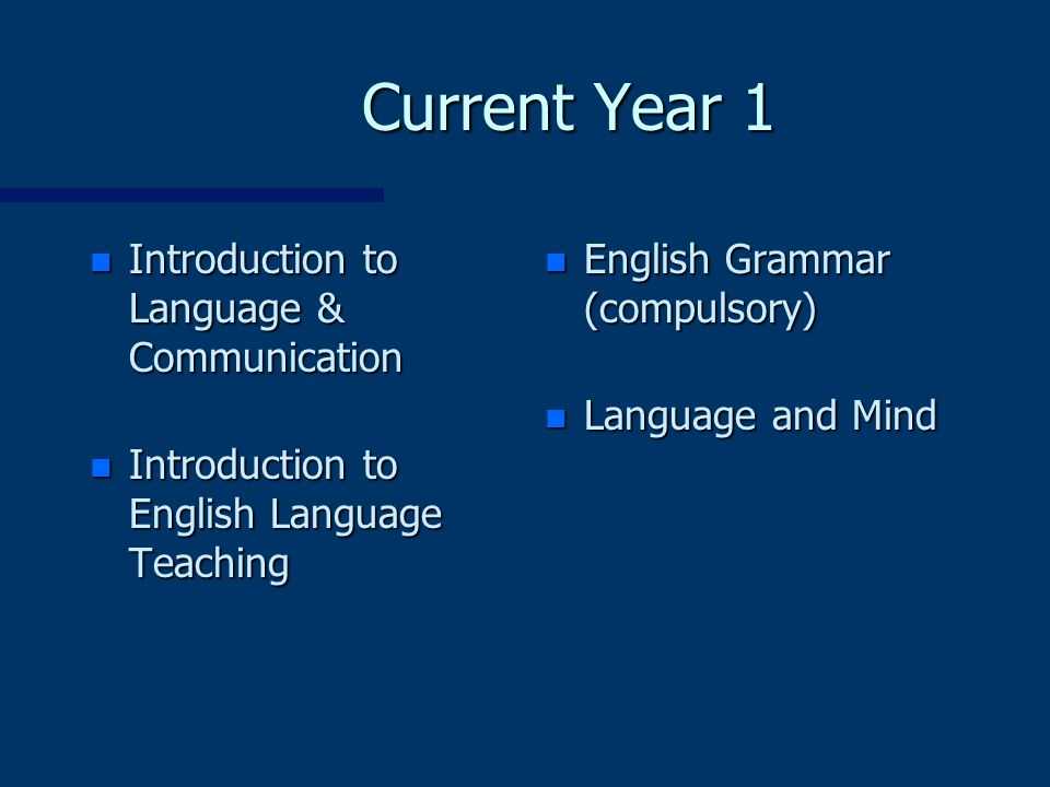 Current Year 1 n Introduction to Language & Communication n Introduction to English Language Teaching n English Grammar (compulsory) n Language and Mind