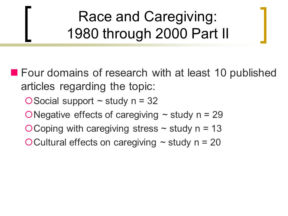 Race and Caregiving: 1980 through 2000 Part II Four domains of research with at least 10 published articles regarding the topic:  Social support ~ study n = 32  Negative effects of caregiving ~ study n = 29  Coping with caregiving stress ~ study n = 13  Cultural effects on caregiving ~ study n = 20