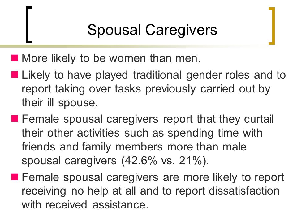 Spousal Caregivers More likely to be women than men.