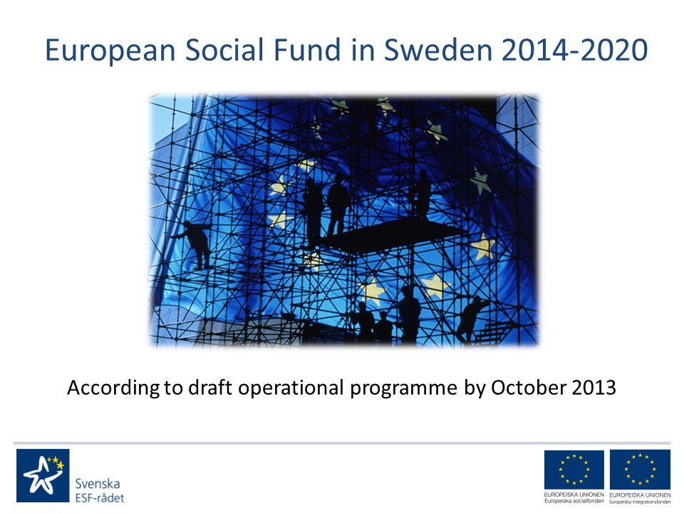 European Social Fund in Sweden According to draft operational programme by October 2013