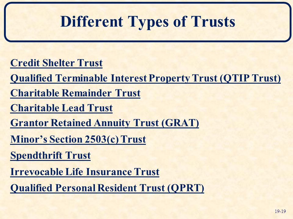 Different Types of Trusts Credit Shelter Trust Qualified Terminable Interest Property Trust (QTIP Trust) Charitable Remainder Trust Charitable Lead Trust Grantor Retained Annuity Trust (GRAT) Minor's Section 2503(c) Trust Spendthrift Trust Irrevocable Life Insurance Trust Qualified Personal Resident Trust (QPRT) 19-19