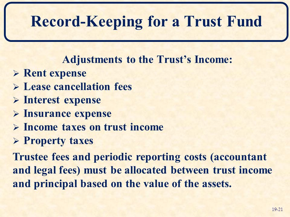 Adjustments to the Trust's Income:  Rent expense  Lease cancellation fees  Interest expense  Insurance expense  Income taxes on trust income  Property taxes Trustee fees and periodic reporting costs (accountant and legal fees) must be allocated between trust income and principal based on the value of the assets.