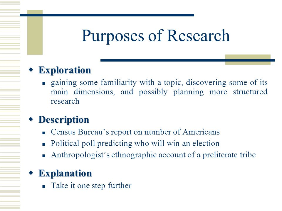 Purposes of Research  Exploration gaining some familiarity with a topic, discovering some of its main dimensions, and possibly planning more structured research  Description Census Bureau's report on number of Americans Political poll predicting who will win an election Anthropologist's ethnographic account of a preliterate tribe  Explanation Take it one step further