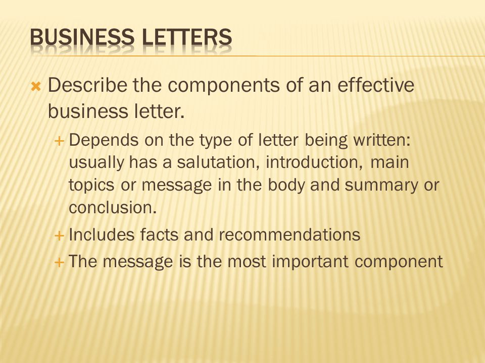 Identify types of business letters two categories business describe the components of an effective business letter altavistaventures Images