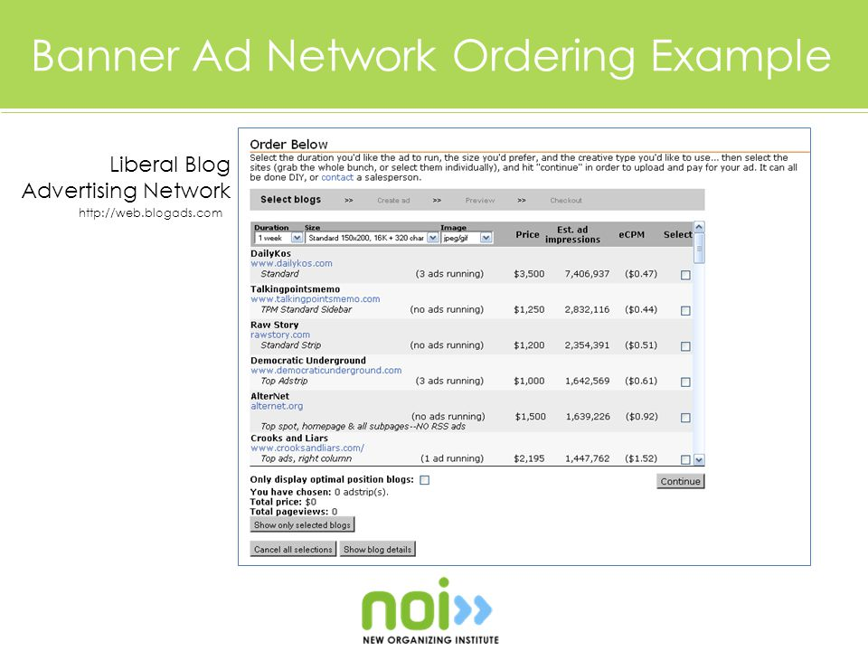 Banner Ad Network Ordering Example Liberal Blog Advertising Network