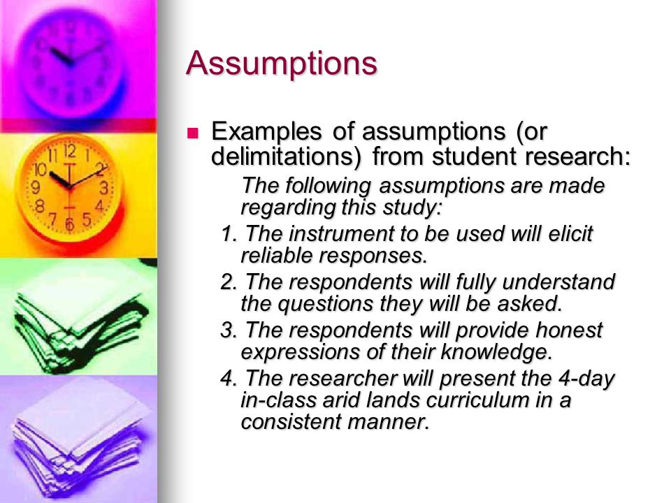 Assumptions Of A Dissertation Study