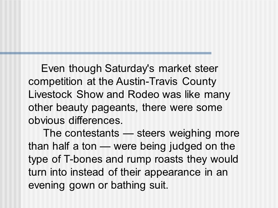 Even though Saturday s market steer competition at the Austin-Travis County Livestock Show and Rodeo was like many other beauty pageants, there were some obvious differences.