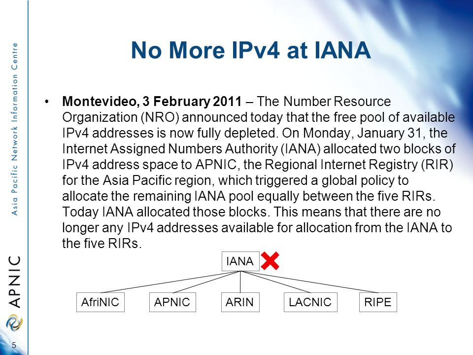 No More IPv4 at IANA Montevideo, 3 February 2011 – The Number Resource Organization (NRO) announced today that the free pool of available IPv4 addresses is now fully depleted.