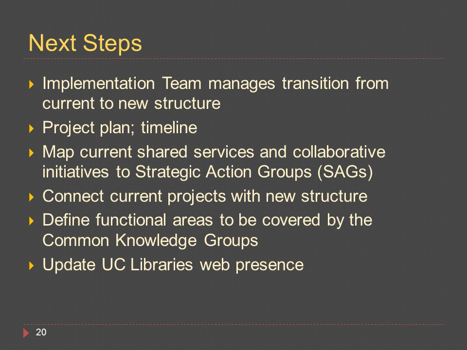  Implementation Team manages transition from current to new structure  Project plan; timeline  Map current shared services and collaborative initiatives to Strategic Action Groups (SAGs)  Connect current projects with new structure  Define functional areas to be covered by the Common Knowledge Groups  Update UC Libraries web presence 20