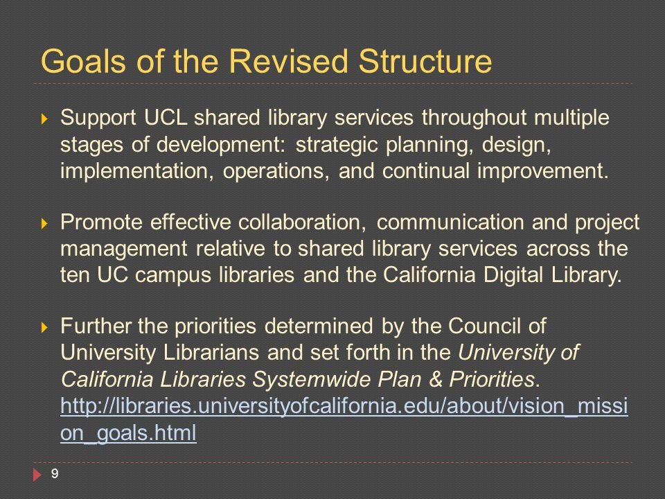  Support UCL shared library services throughout multiple stages of development: strategic planning, design, implementation, operations, and continual improvement.