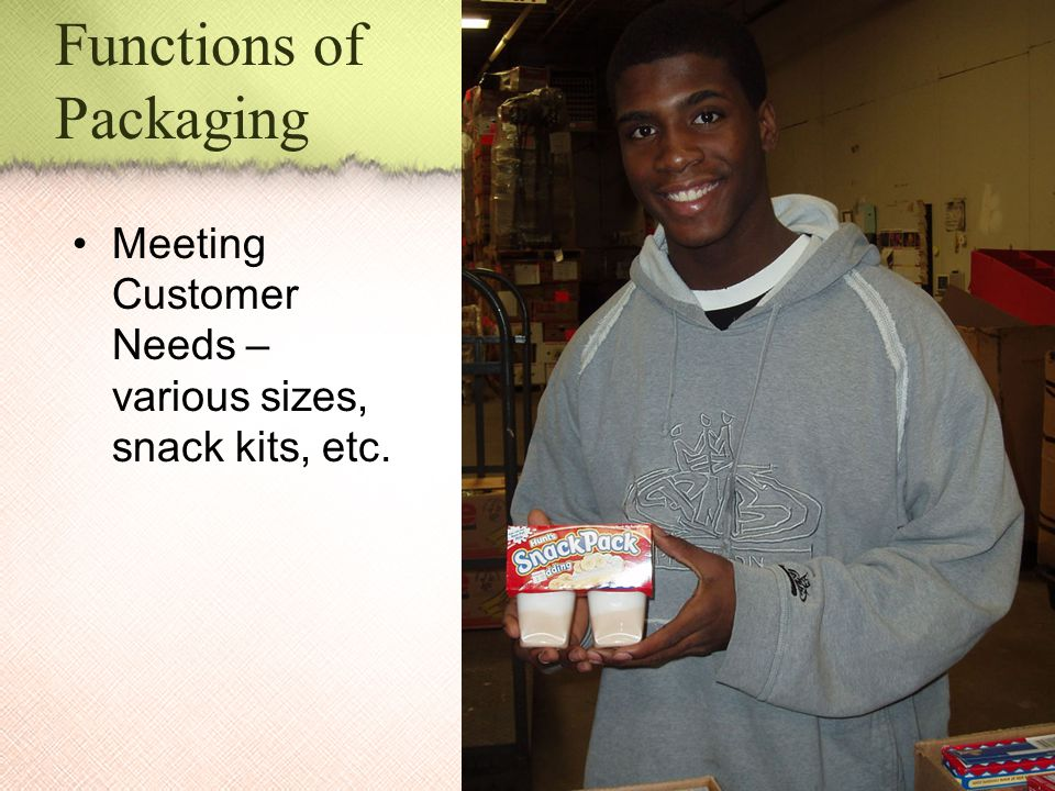 Functions of Packaging Meeting Customer Needs – various sizes, snack kits, etc.