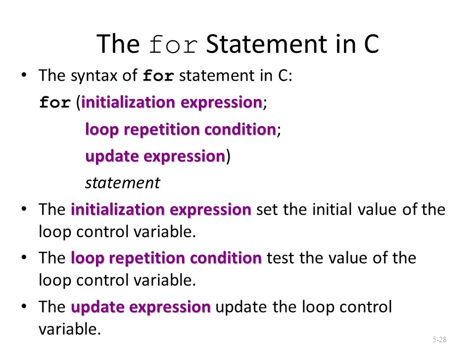 The for Statement in C The syntax of for statement in C: initialization expression for (initialization expression; loop repetition condition loop repetition condition; update expression update expression) statement initialization expression The initialization expression set the initial value of the loop control variable.