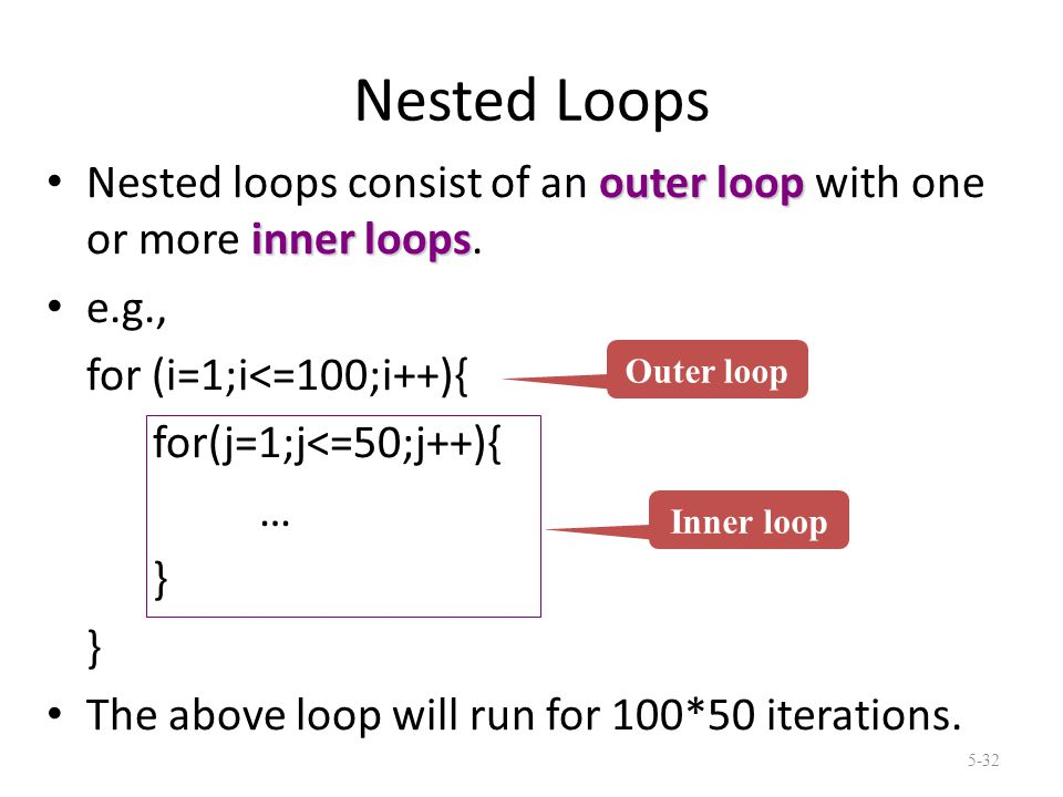 Nested Loops outer loop inner loops Nested loops consist of an outer loop with one or more inner loops.
