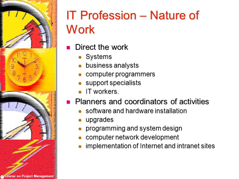 Course on Project Management IT Profession – Nature of Work Direct the work Direct the work Systems Systems business analysts business analysts computer programmers computer programmers support specialists support specialists IT workers.