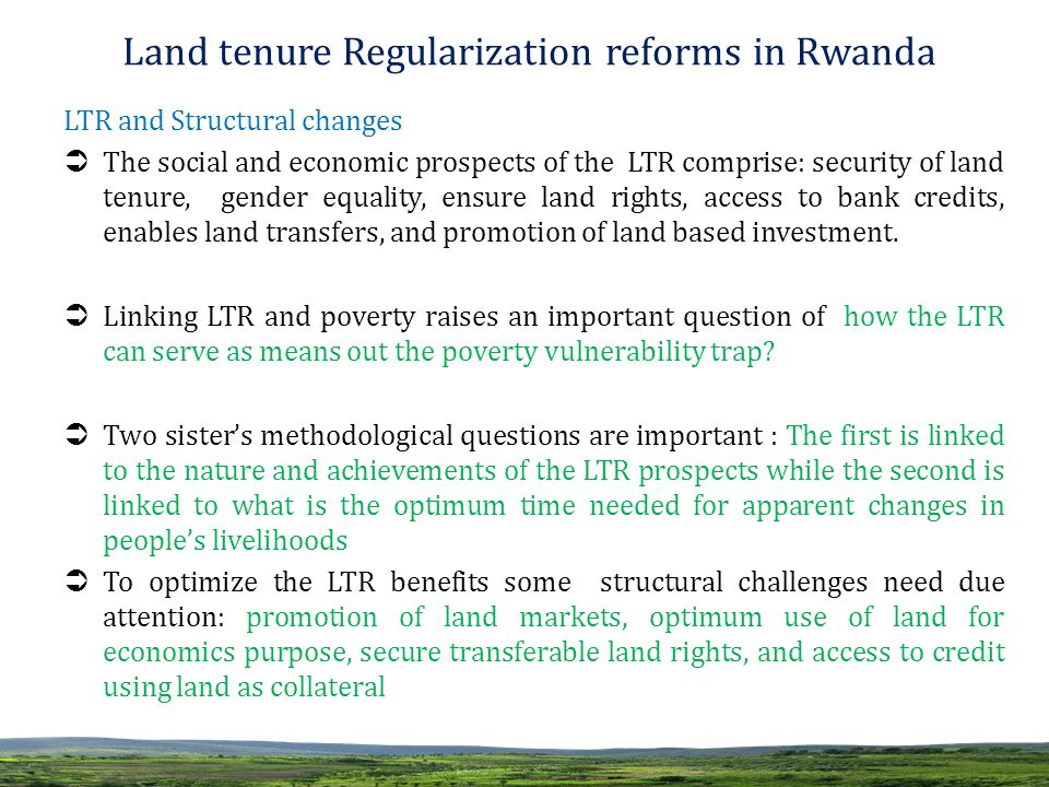 economic objectives of land reform Land reform and poverty welfarist and production based objectives in land reform being dominant in the early 1980s while economic/production aspects.