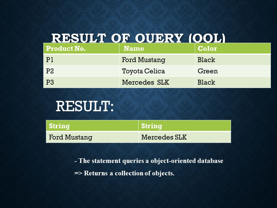 RESULT OF QUERY (OQL) Product No.