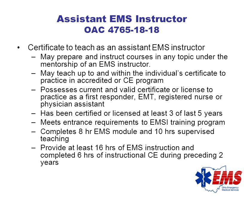 EMS Instructor Level A, B Training?