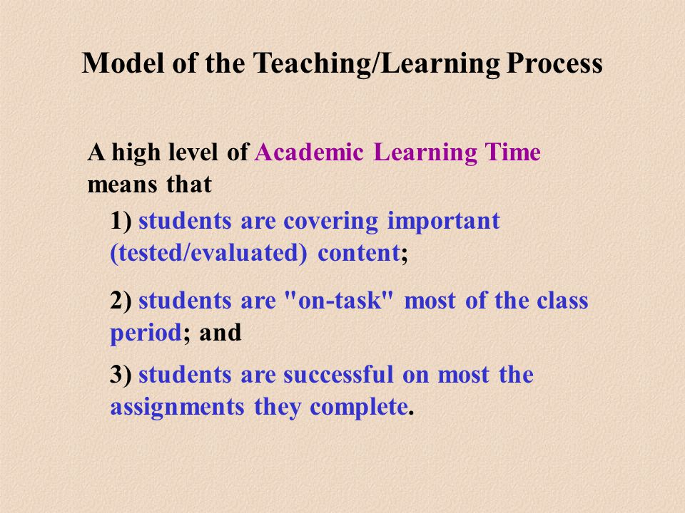 A high level of Academic Learning Time means that 1) students are covering important (tested/evaluated) content; 2) students are on-task most of the class period; and 3) students are successful on most the assignments they complete.