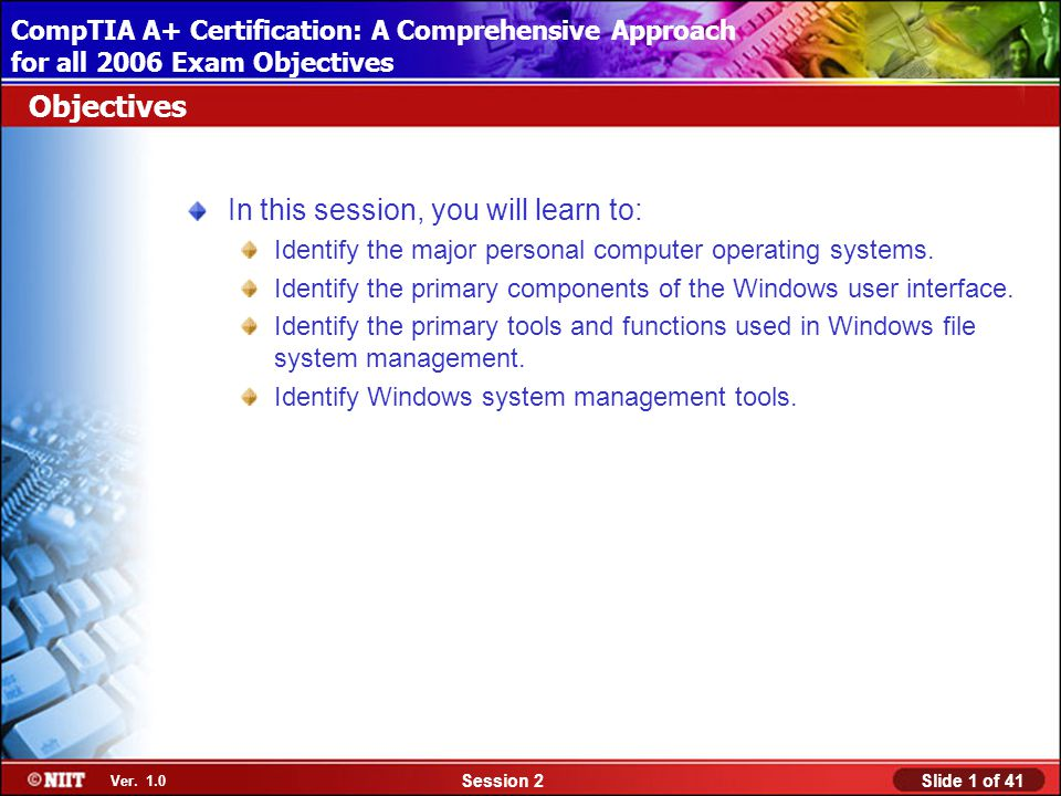 Installing Windows XP Professional Using Attended Installation Slide 1 of 41Session 2 Ver.