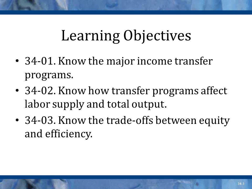 34-5 Learning Objectives Know the major income transfer programs.