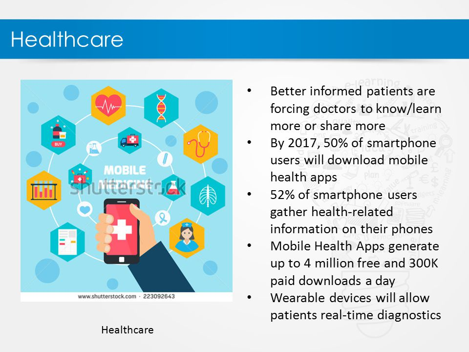 Healthcare Better informed patients are forcing doctors to know/learn more or share more By 2017, 50% of smartphone users will download mobile health apps 52% of smartphone users gather health-related information on their phones Mobile Health Apps generate up to 4 million free and 300K paid downloads a day Wearable devices will allow patients real-time diagnostics Healthcare