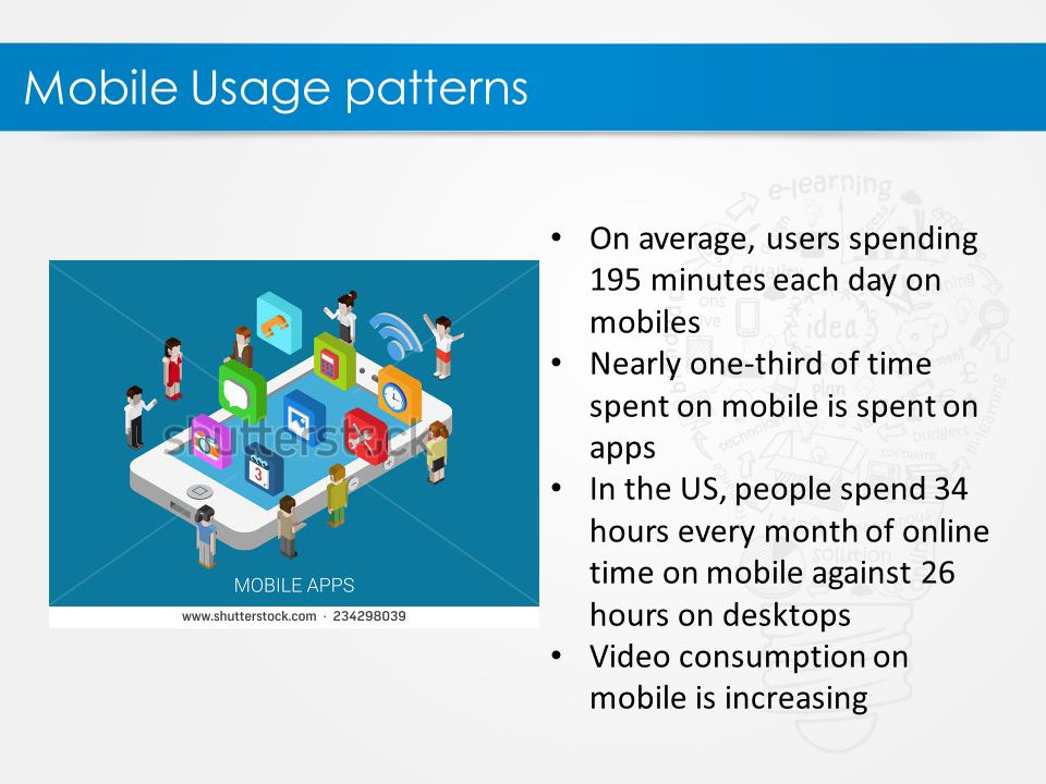 Mobile Usage patterns On average, users spending 195 minutes each day on mobiles Nearly one-third of time spent on mobile is spent on apps In the US, people spend 34 hours every month of online time on mobile against 26 hours on desktops Video consumption on mobile is increasing