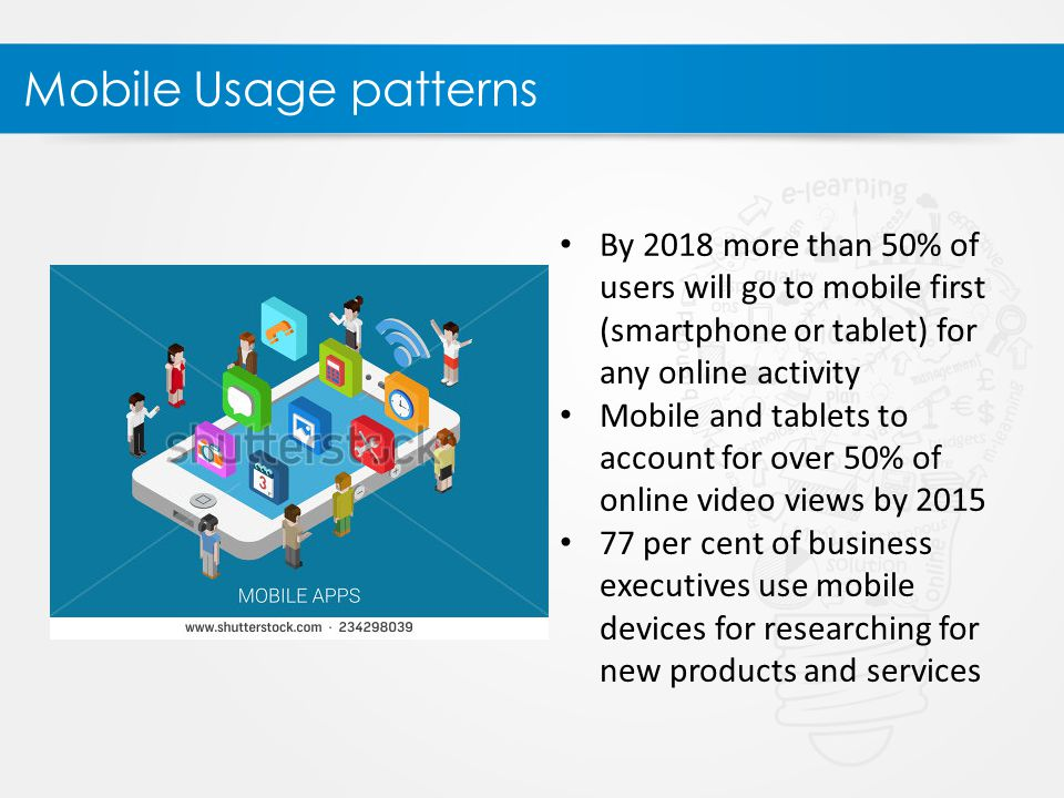 Mobile Usage patterns By 2018 more than 50% of users will go to mobile first (smartphone or tablet) for any online activity Mobile and tablets to account for over 50% of online video views by 2015 77 per cent of business executives use mobile devices for researching for new products and services