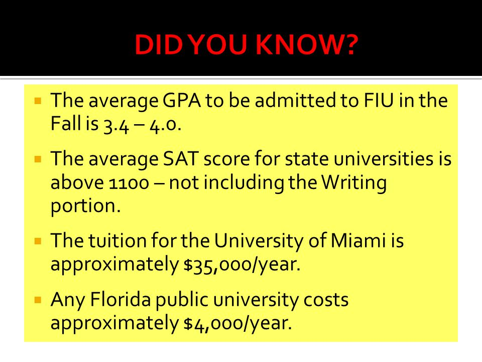  The average GPA to be admitted to FIU in the Fall is 3.4 – 4.0.