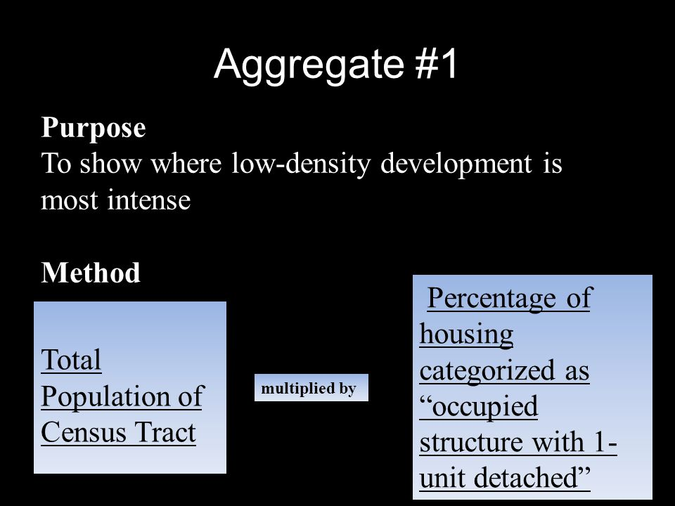 Aggregate #1 Method Purpose To show where low-density development is most intense Total Population of Census Tract multiplied by Percentage of housing categorized as occupied structure with 1- unit detached