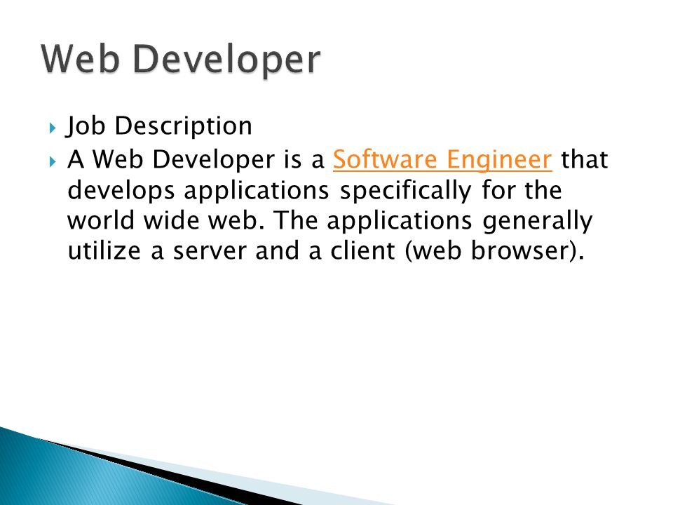 Career Field Technology Heckler  Spurr  Web Developer Blake