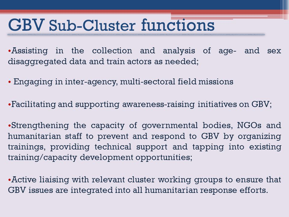 GBV Sub-Cluster functions Assisting in the collection and analysis of age- and sex disaggregated data and train actors as needed; Engaging in inter-agency, multi-sectoral field missions Facilitating and supporting awareness-raising initiatives on GBV; Strengthening the capacity of governmental bodies, NGOs and humanitarian staff to prevent and respond to GBV by organizing trainings, providing technical support and tapping into existing training/capacity development opportunities; Active liaising with relevant cluster working groups to ensure that GBV issues are integrated into all humanitarian response efforts.