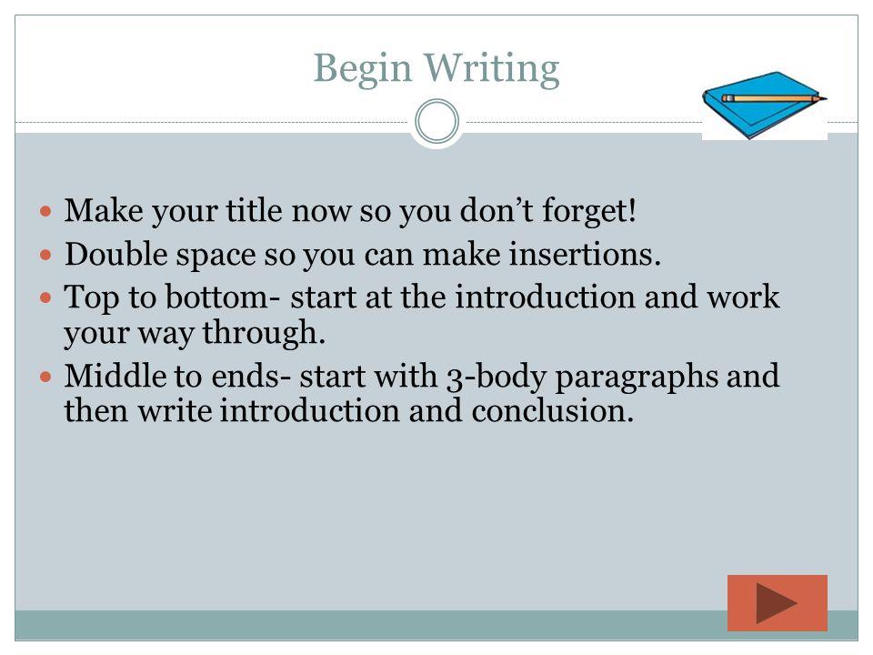 writng an essay