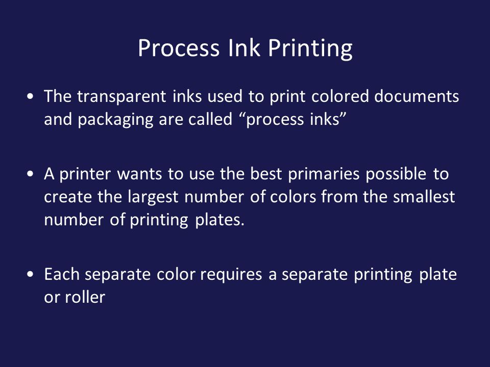 Process Ink Printing The Transparent Inks Used To Print Colored Documents And Packaging Are Called