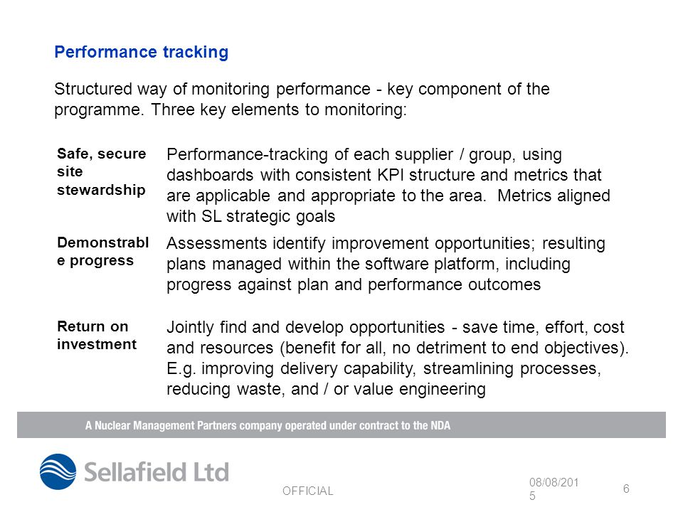 Performance tracking Structured way of monitoring performance - key component of the programme.