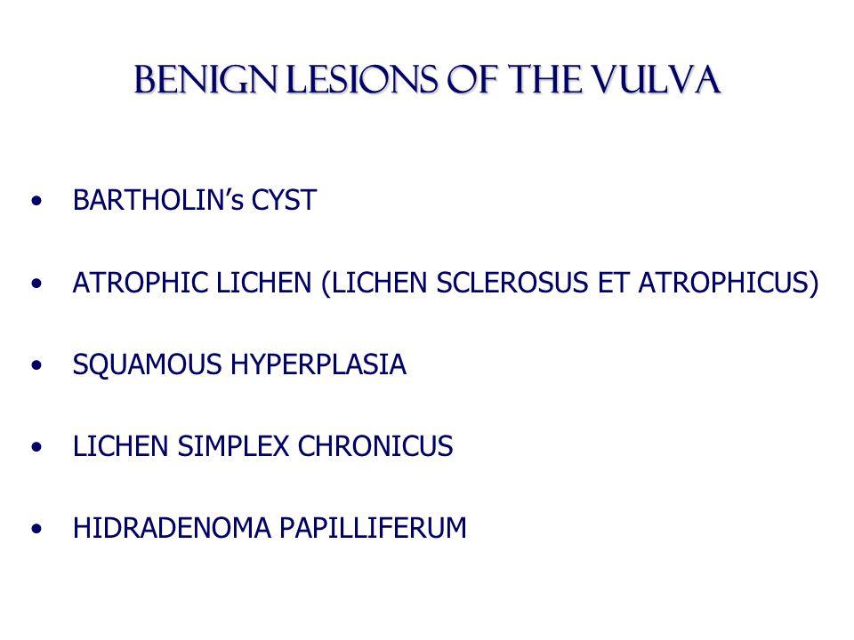BENIGN LESIONS OF THE VULVA BARTHOLIN's CYST ATROPHIC LICHEN (LICHEN SCLEROSUS ET ATROPHICUS) SQUAMOUS HYPERPLASIA LICHEN SIMPLEX CHRONICUS HIDRADENOM