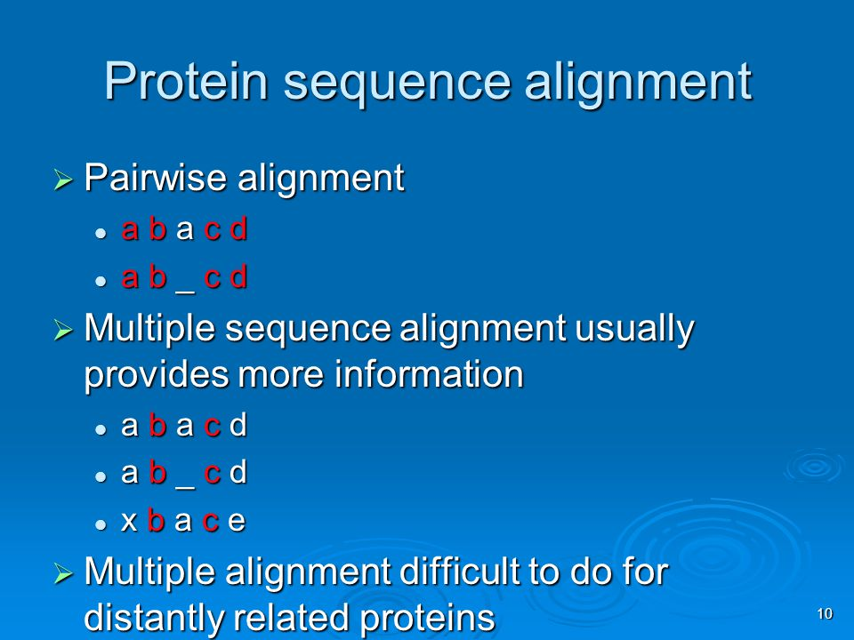 10 Protein sequence alignment  Pairwise alignment a b a c d a b a c d a b _ c d a b _ c d  Multiple sequence alignment usually provides more information a b a c d a b a c d a b _ c d a b _ c d x b a c e x b a c e  Multiple alignment difficult to do for distantly related proteins