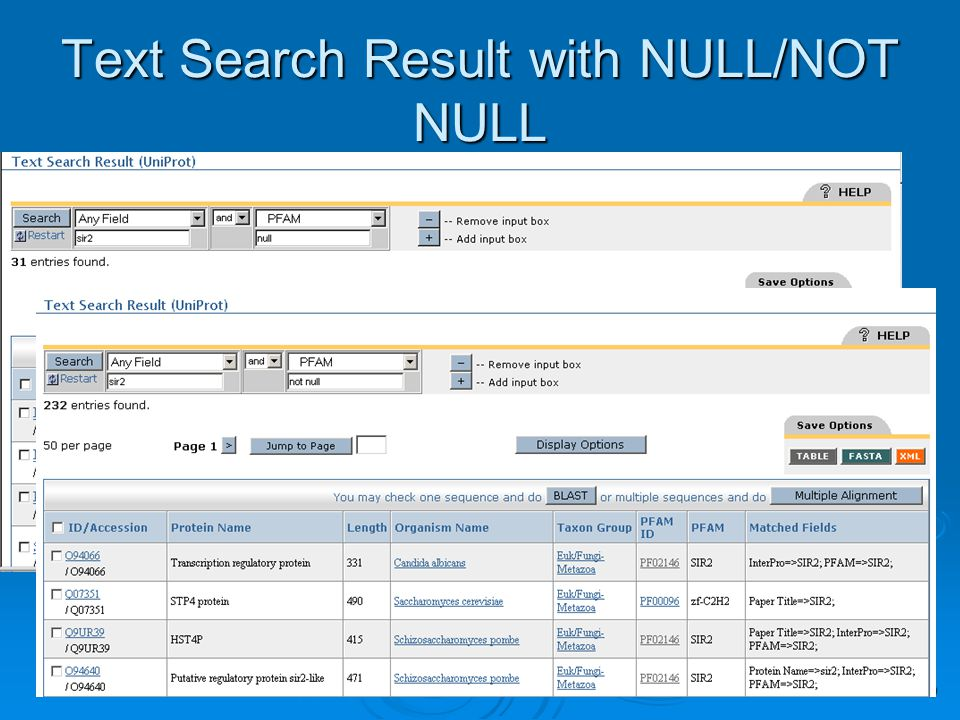 19 Text Search Result with NULL/NOT NULL