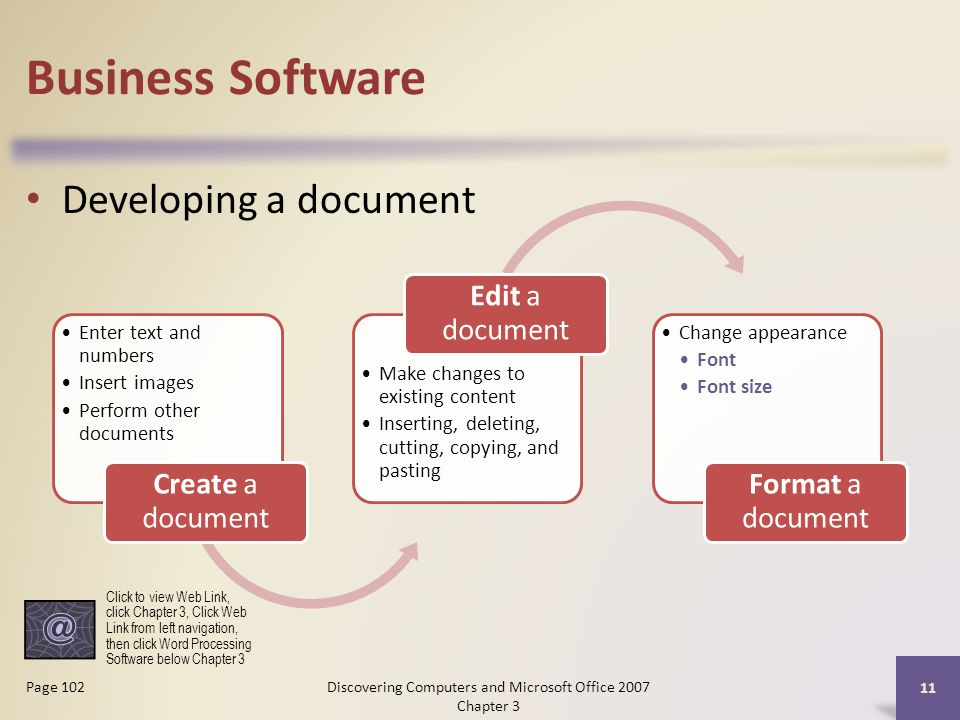 Business Software Developing a document 11 Page 102 Enter text and numbers Insert images Perform other documents Create a document Make changes to existing content Inserting, deleting, cutting, copying, and pasting Edit a document Change appearance Font Font size Format a document Click to view Web Link, click Chapter 3, Click Web Link from left navigation, then click Word Processing Software below Chapter 3 Discovering Computers and Microsoft Office 2007 Chapter 3