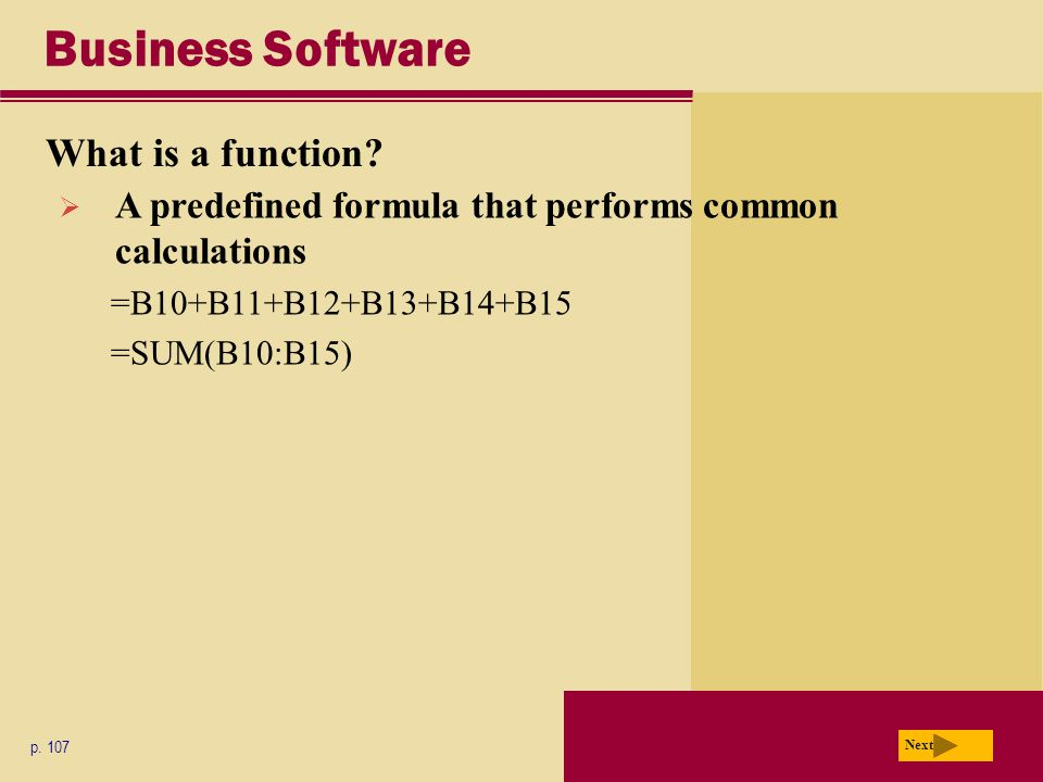 Business Software What is a function. p.