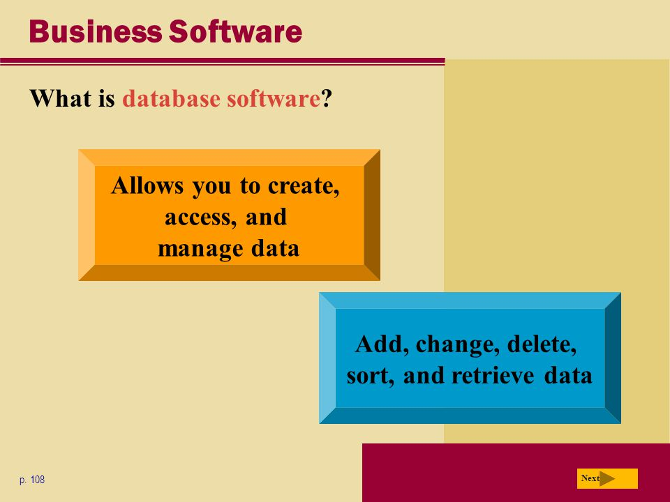 Business Software What is database software. p.
