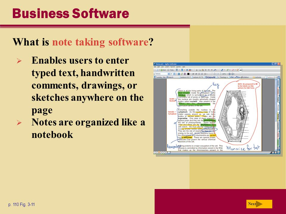 Business Software What is note taking software. p.