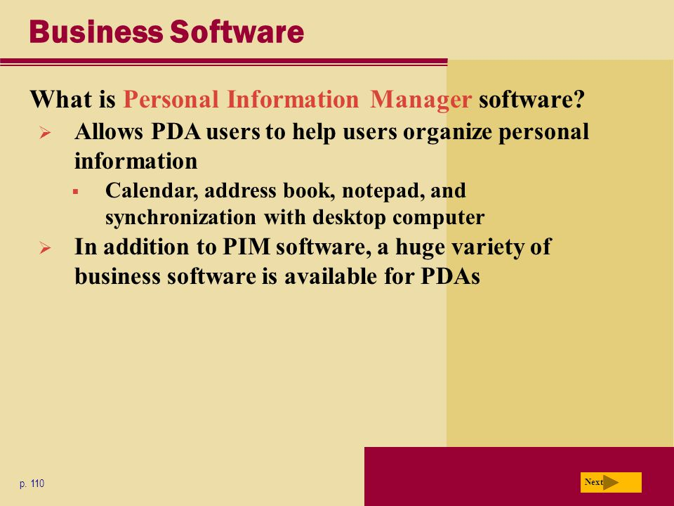 Business Software What is Personal Information Manager software.