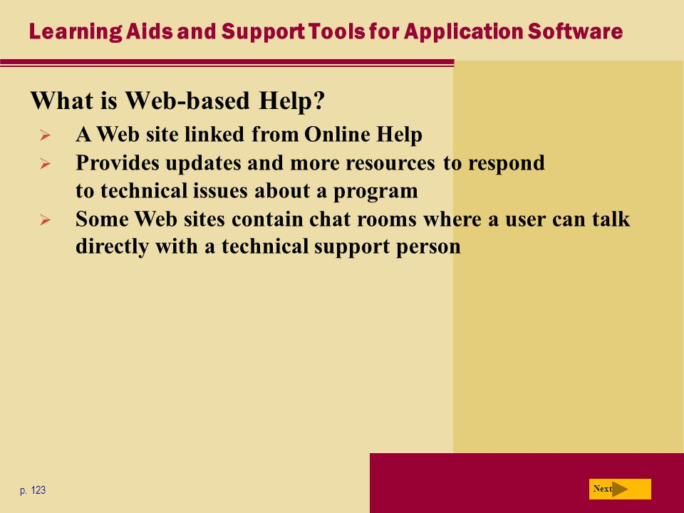 Learning Aids and Support Tools for Application Software What is Web-based Help.