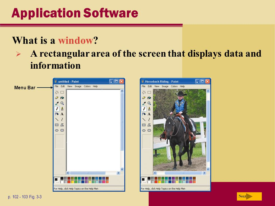 Application Software What is a window. p Fig.